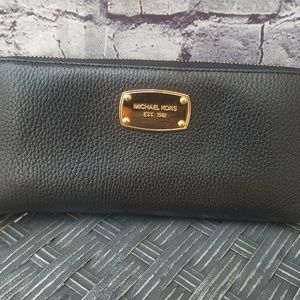 Michael Kors Black Pebbled Leather Clutch Wallet